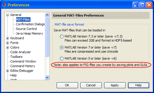 Matlab's preferences panels