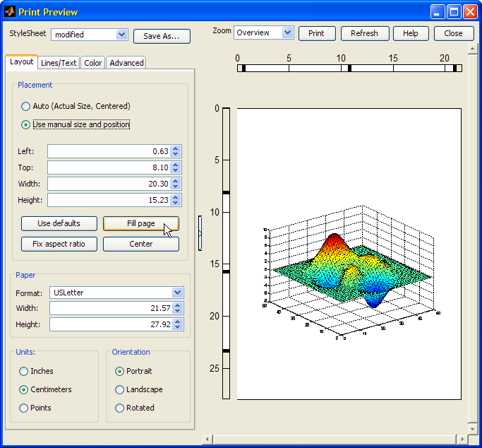 Matlab's Print Preview window