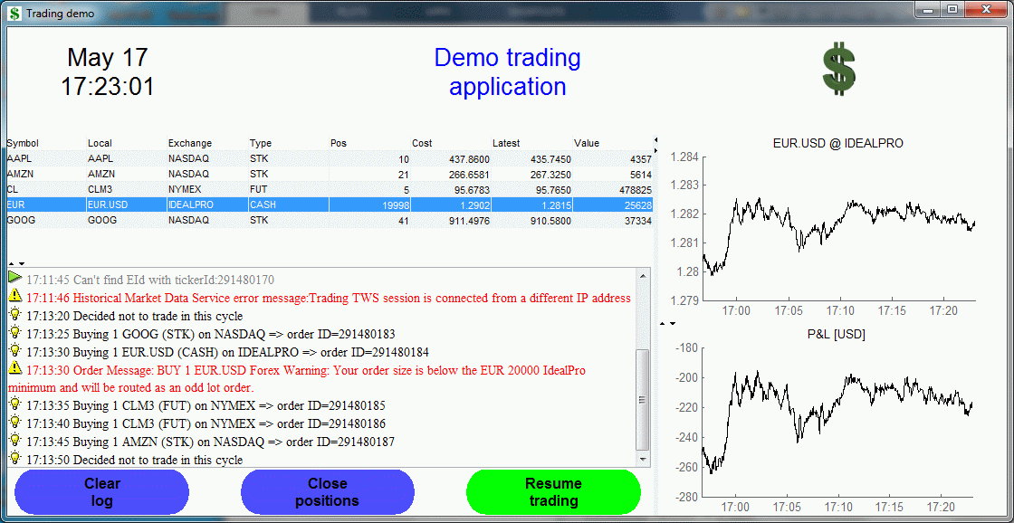 Real-time trading system demo in Matlab (click for details)
