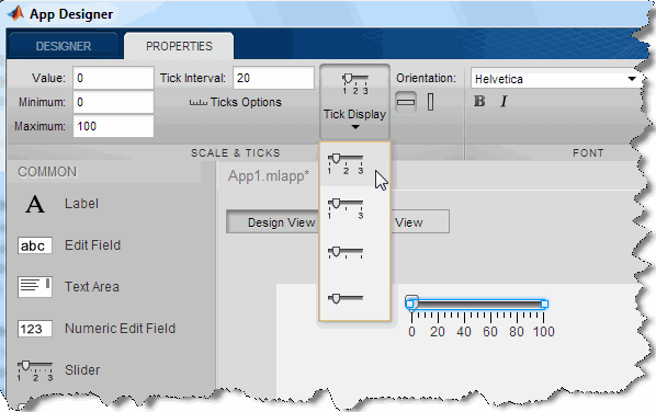 Matlab's new AppDesigner (a somewhat outdated screenshot)