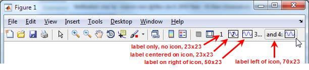 Labeled toolbar buttons