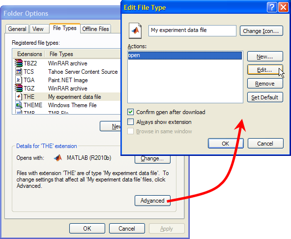 Editing the file association details