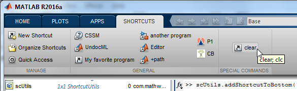 Shortcuts in Matlab R2012b and newer