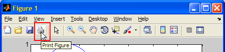 Matlab's default toolbar Print action