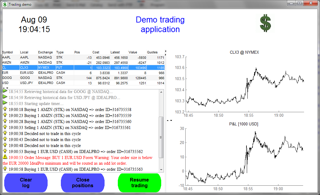 Real-time trading system demo in Matlab (click to zoom)