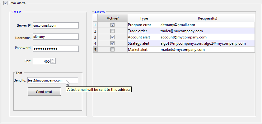 User configuration of emails in Matlab GUI (click to zoom-in)
